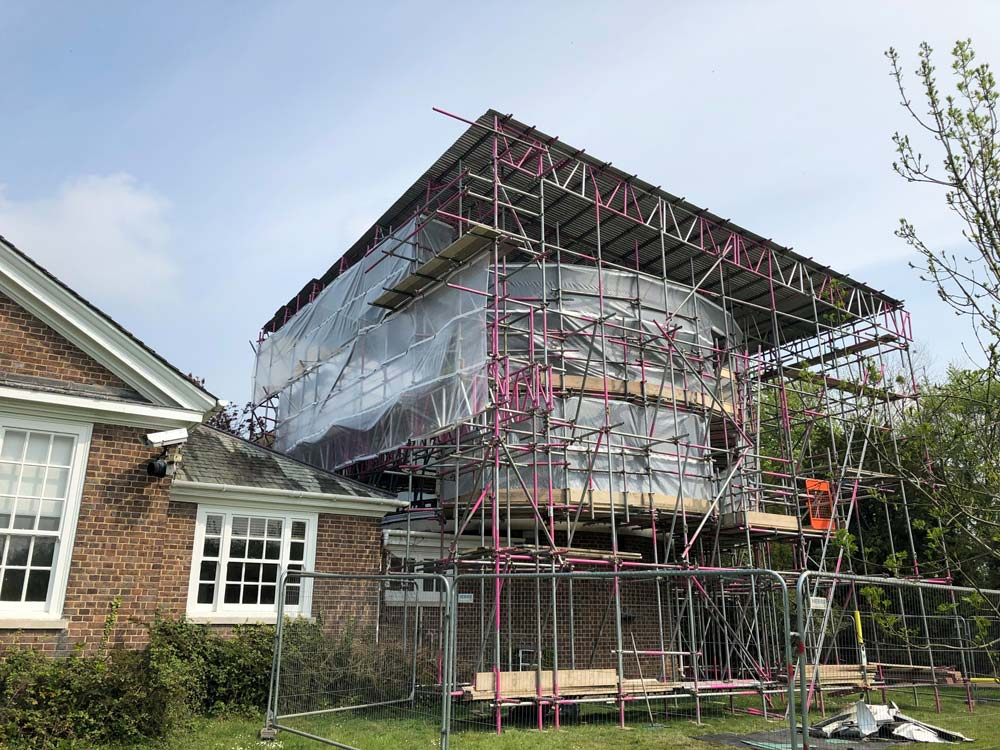 The scaffolding was erected over telescope in one of the universities in Cambridge