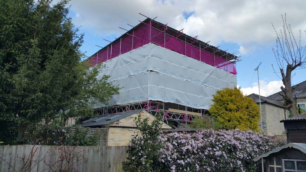 This temporary roof has put up in Cherry Hinton Cambridge