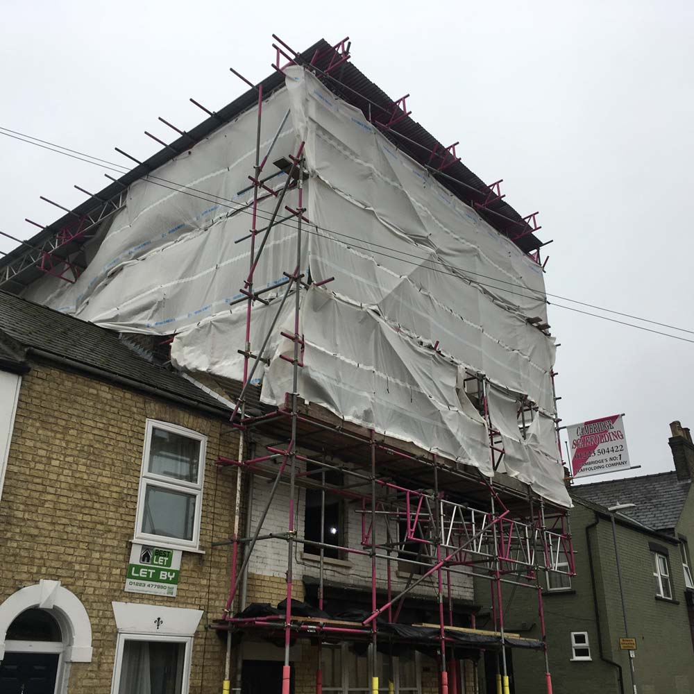 This temporary roof was put up on Kingston Street in Cambridge