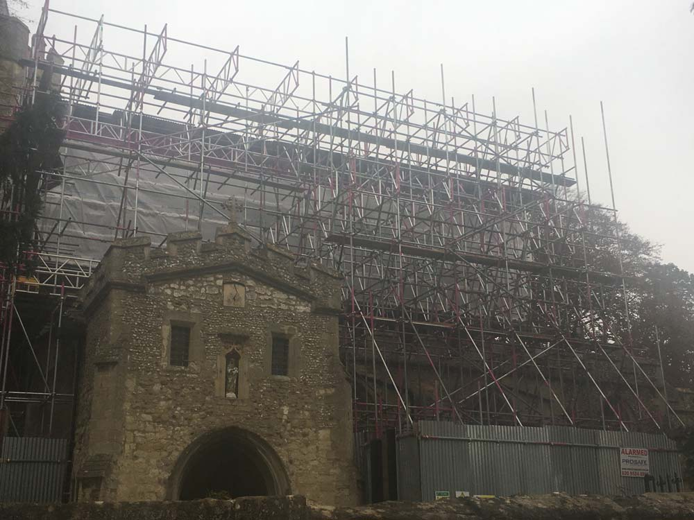 This scaffold roof was put up over a church in Shelford Cambridge